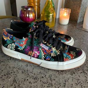 Superga Silk Floral Shoes. Women's size 10